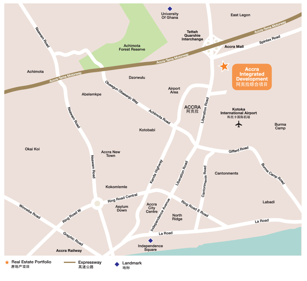 Location of Accra Integrated Development, Ghana